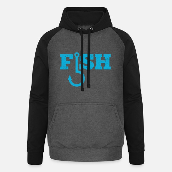 Gift Idea Hoodies & Sweatshirts - Fish fishing hook gift - Unisex Baseball Hoodie graphite/black