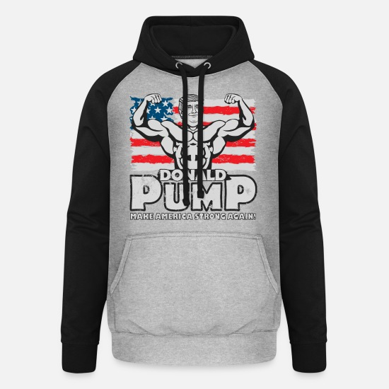 Body Builder Hoodies & Sweatshirts - Donald Pump - Make America Strong Again! - Unisex Baseball Hoodie heather grey/black