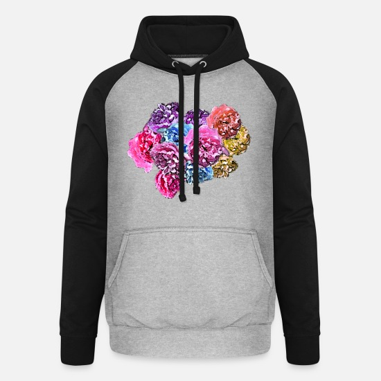 Flowers Hoodies & Sweatshirts - Roses & Roses - Unisex Baseball Hoodie heather grey/black