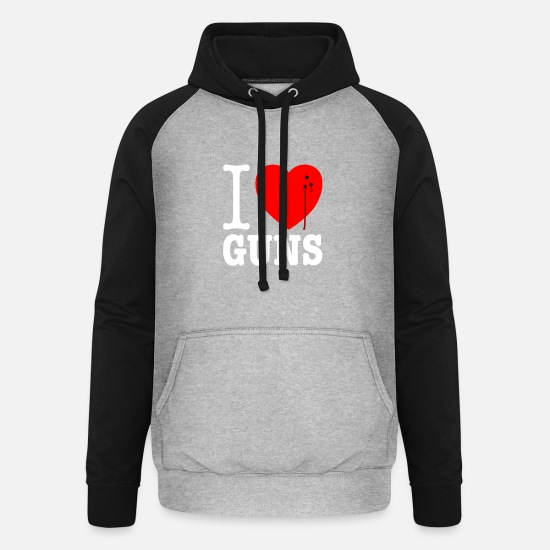 Usa Hoodies & Sweatshirts - I love guns! Weapons satire. Bullet hole with blood - Unisex Baseball Hoodie heather grey/black