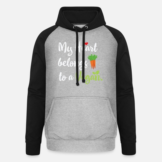 Gift Idea Hoodies & Sweatshirts - Vegan life - Unisex Baseball Hoodie heather grey/black
