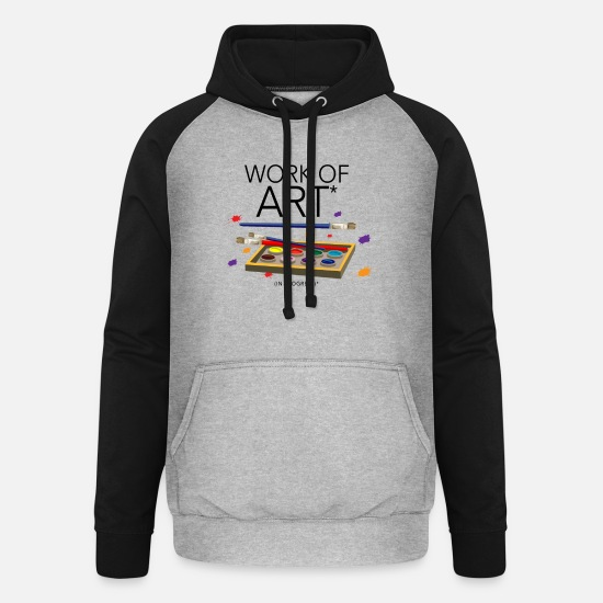 Paint Brush Hoodies & Sweatshirts - Art artist brush gift - Unisex Baseball Hoodie heather grey/black