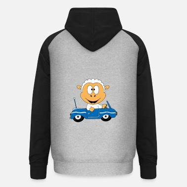 Fun Funny sheep - sheep - car - Unisex Baseball Hoodie
