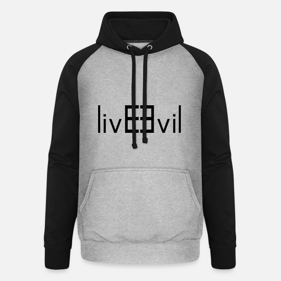 Gift Idea Hoodies & Sweatshirts - Evil - Unisex Baseball Hoodie heather grey/black