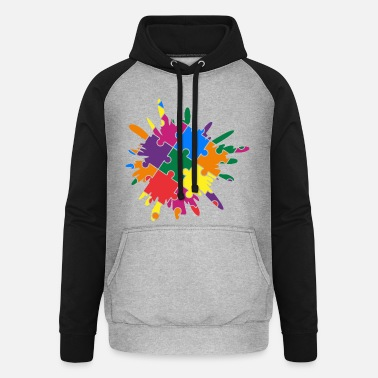 Puslespill Autism Awareness Puzzle Colorful Splash - Unisex baseball hettegenser