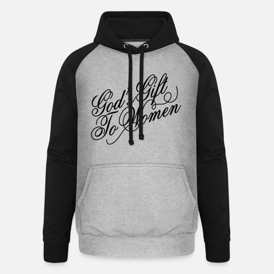 Geek Hoodies & Sweatshirts - Gods gift to women 2 - Unisex Baseball Hoodie heather grey/black