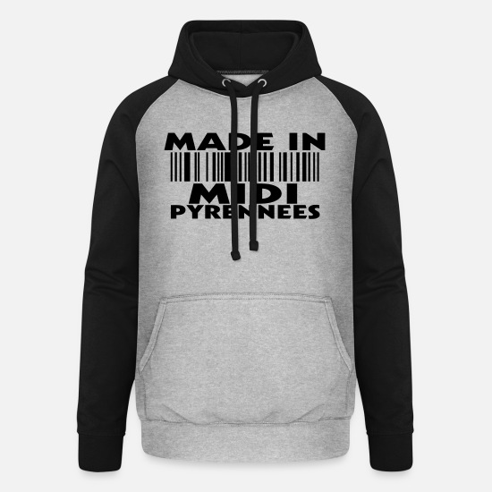 Factory Hoodies & Sweatshirts - made in MIDI PYRENEES (1c) - Unisex Baseball Hoodie heather grey/black