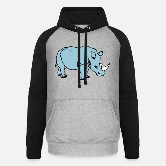 Africa Hoodies & Sweatshirts - rhinoceros - Unisex Baseball Hoodie heather grey/black
