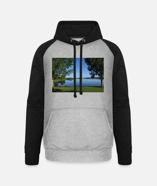 Water Hoodies & Sweatshirts - brombachsee - Unisex Baseball Hoodie heather grey/black