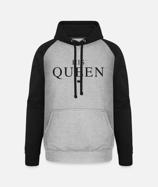 King Queen Pullover & Hoodies - HIS QUEEN - Unisex Baseball Hoodie Grau meliert/Schwarz