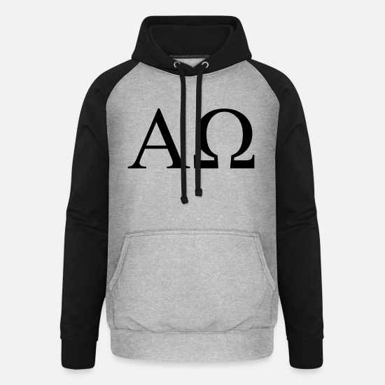 Alphabet Hoodies & Sweatshirts - Alpha Omega - Unisex Baseball Hoodie heather grey/black
