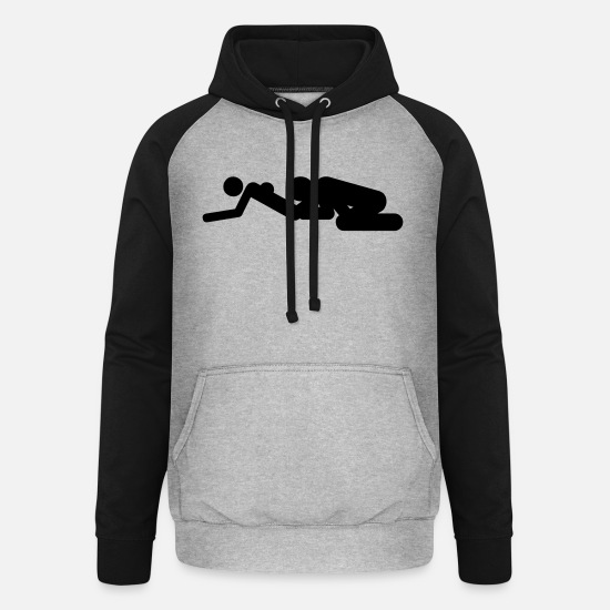 Sexist Hoodies & Sweatshirts - Sex positions - Unisex Baseball Hoodie heather grey/black