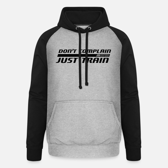 Gym Wear Hoodies & Sweatshirts - Do not complain - Just train - Unisex Baseball Hoodie heather grey/black