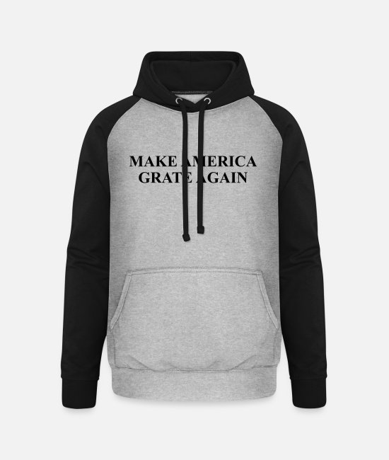 Make America Grate Hoodies & Sweatshirts - Personalize: Make America Grate Again - Unisex Baseball Hoodie heather grey/black
