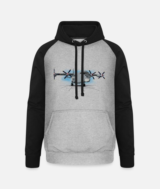 Pilot Hoodies & Sweatshirts - An-12 - Unisex Baseball Hoodie heather grey/black
