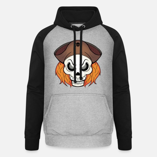 Skull And Bones Hoodies & Sweatshirts - pirate skull - Unisex Baseball Hoodie heather grey/black