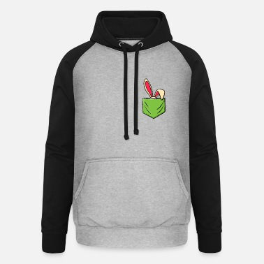 Christian Happy easter bunny easter bunny breast pocket - Unisex Baseball Hoodie