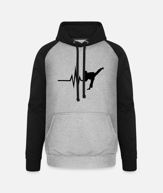 Martial Arts Hoodies & Sweatshirts - My heart beats for Combat Sports - Sports Fitness - Unisex Baseball Hoodie heather grey/black