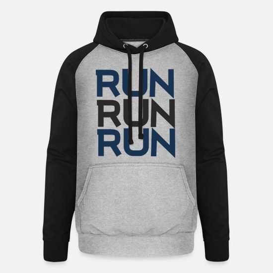 Song Hoodies & Sweatshirts - RUN RUN RUN T-SHIRT - Unisex Baseball Hoodie heather grey/black