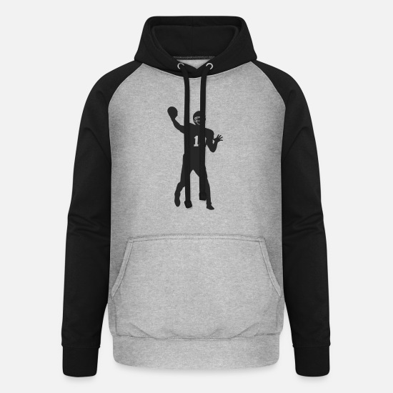 American Football Hoodies & Sweatshirts - Quarterback football - Unisex Baseball Hoodie heather grey/black