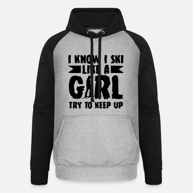 Lifting Ski Girl Woman - Unisex Baseball Hoodie