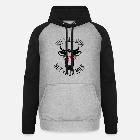 Cow Hoodies & Sweatshirts - Dairy Cow Vegan Saying Gift - Unisex Baseball Hoodie heather grey/black