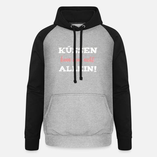 Love Hoodies & Sweatshirts - kiss - Unisex Baseball Hoodie heather grey/black