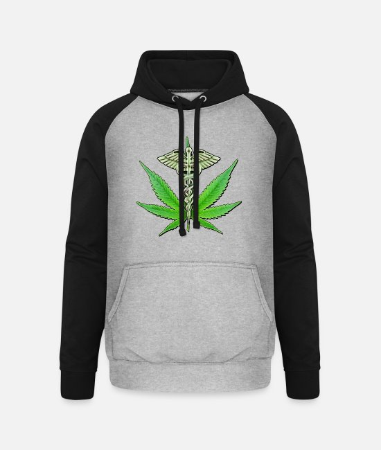 Hemp Hoodies & Sweatshirts - Medical Marijuana - Unisex Baseball Hoodie heather grey/black