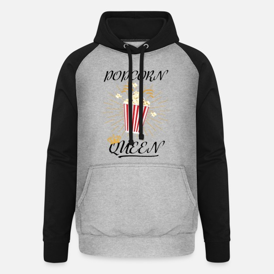 Carneval Hoodies & Sweatshirts - Popcorn costume popcorn queen cinema carnival tv - Unisex Baseball Hoodie heather grey/black