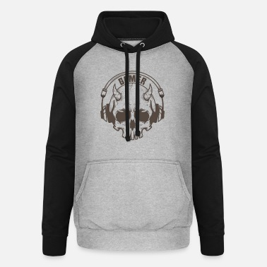 Wide Gamer skull with horns and headset - Unisex Baseball Hoodie