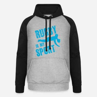 Rugby Rugby is mijn sport - Unisex baseball hoodie