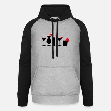 Coctail Coctails Red Black Gray - Unisex Baseball Hoodie