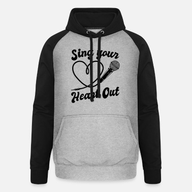 I Heart Karaoke Sing Your Heart Out I Microphone Singing Karaoke - Unisex Baseball Hoodie