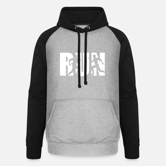 Run Sweat-shirts - Run, Running, Runner - courir - Sweat à capuche baseball unisexe gris chiné/noir