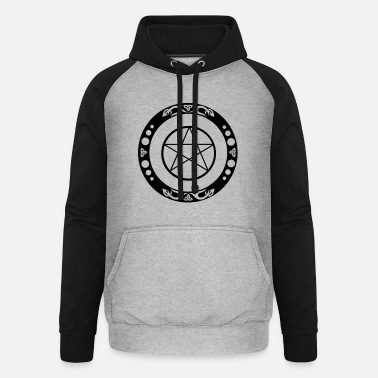 Pagan Big pentagram with trinity symbol. Pagan Art. - Unisex Baseball Hoodie