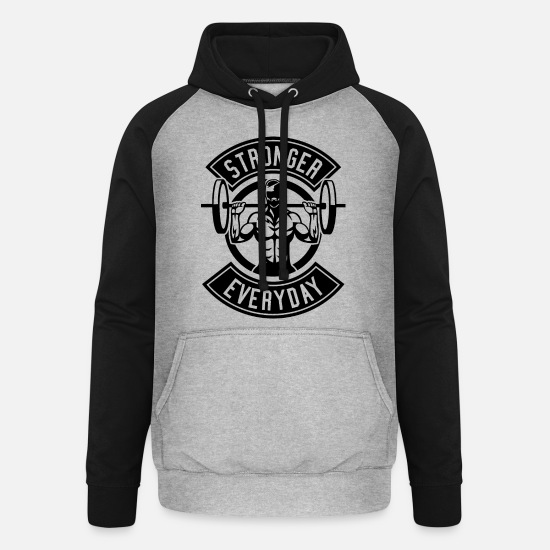 Dumbbells Hoodies & Sweatshirts - Stronger Than All - Unisex Baseball Hoodie heather grey/black