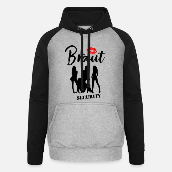 Bride Hoodies & Sweatshirts - Bachelorette Party Bride Security - Unisex Baseball Hoodie heather grey/black