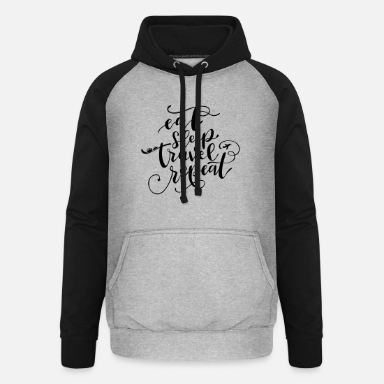 Schwarz Weiß Pullover & Hoodies - eat sleep travel repeat - Unisex Baseball Hoodie Grau meliert/Schwarz