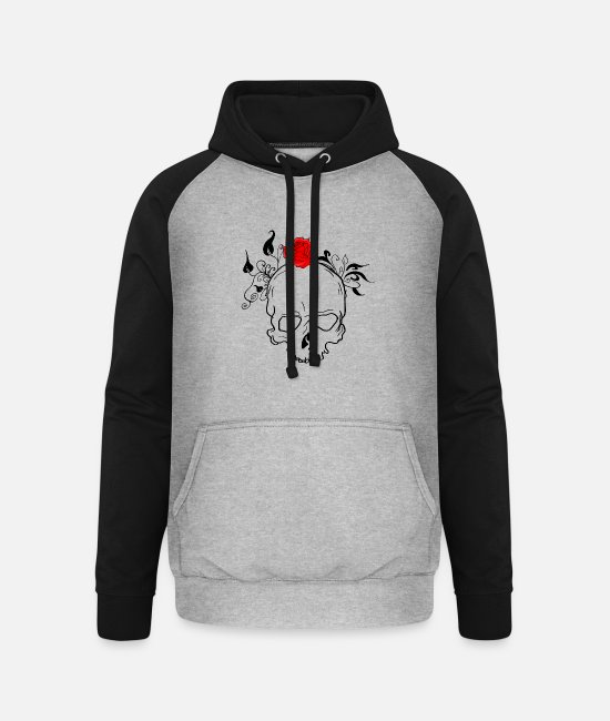 Bodyguard Hoodies & Sweatshirts - Skull with plants and rose - Unisex Baseball Hoodie heather grey/black