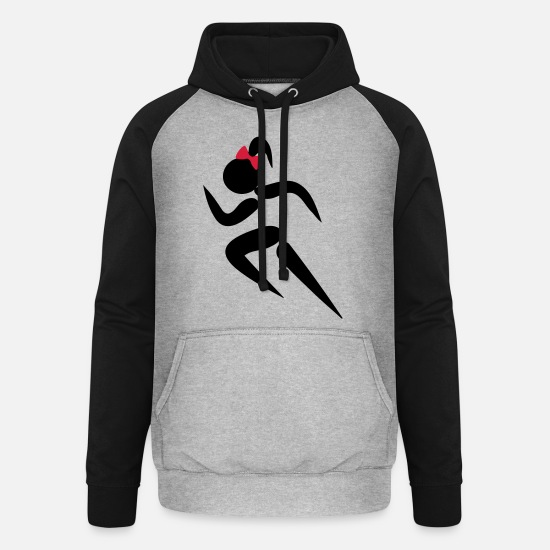 Fit Hoodies & Sweatshirts - ❤✦Sexy Female Sprinter Wearing a Pony tail✦❤ - Unisex Baseball Hoodie heather grey/black