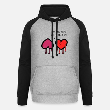 Humorous Sayings Humorous heart Funny sayings jokes gift - Unisex Baseball Hoodie