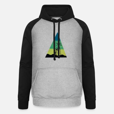 pyramid with palms and mountains - Unisex baseball hoodie