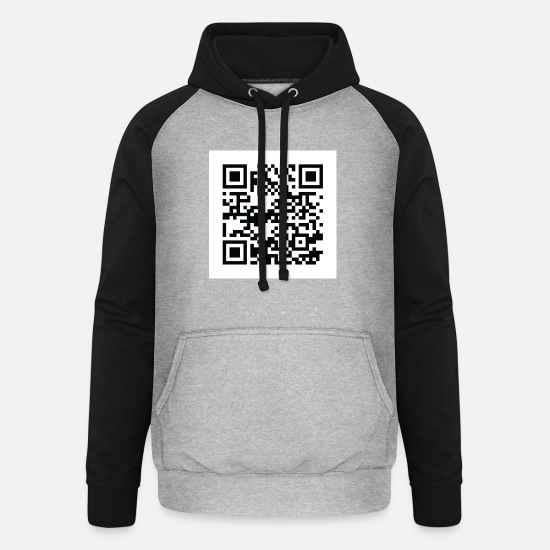 Labour Hoodies & Sweatshirts - QR code - Unisex Baseball Hoodie heather grey/black