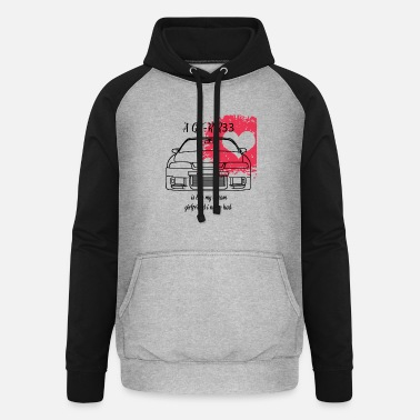 Skyline GT-R R33 with heart - Unisex Baseball Hoodie