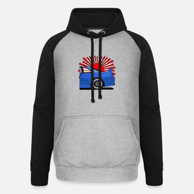 GT-R R34 with the Japanese rising sun - Unisex Baseball Hoodie