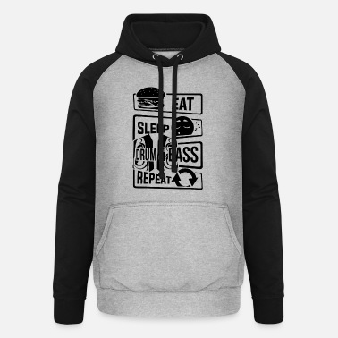 Inglaterra Eat Sleep Drum & Bass Repeat - Party Festival Beat - Sudadera con capucha de béisbol unisex