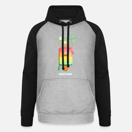 Sun Hoodies & Sweatshirts - Popsicle ice cream Colorful funny gift - Unisex Baseball Hoodie heather grey/black