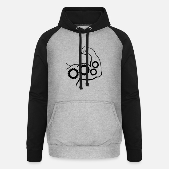 Muscular Hoodies & Sweatshirts - muscles gears_m1 - Unisex Baseball Hoodie heather grey/black