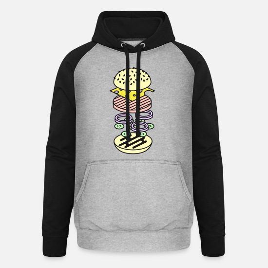 Picnic Hoodies & Sweatshirts - Burger - Unisex Baseball Hoodie heather grey/black