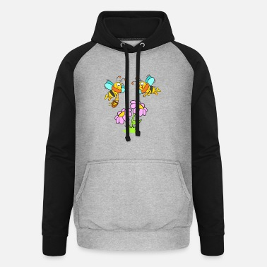 Bees with flowers and honey pot - Unisex Baseball Hoodie